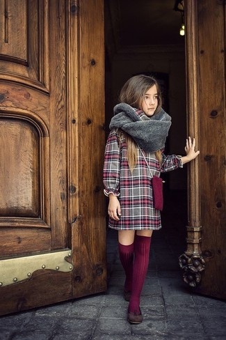 How to wear: grey fur scarf, burgundy knee high socks, dark brown ballet flats, grey plaid dress