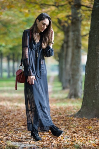 How to wear: burgundy leather crossbody bag, black leather lace-up ankle boots, black lace maxi dress