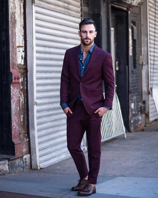 How to wear: burgundy leather derby shoes, blue long sleeve shirt, purple suit