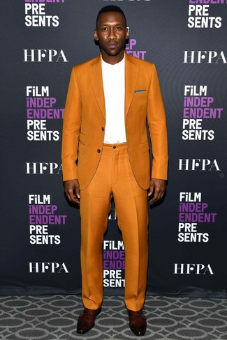 How to wear: burgundy leather double monks, white long sleeve t-shirt, orange suit