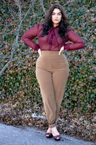 How to wear: burgundy leather heeled sandals, tan suede tapered pants, burgundy chiffon dress shirt