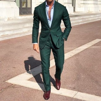 How to wear: burgundy leather oxford shoes, light blue dress shirt, dark green suit