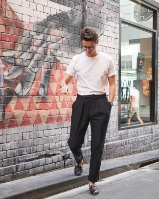 How to wear: black leather watch, burgundy leather loafers, black linen chinos, white crew-neck t-shirt