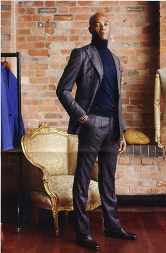 How to wear: purple print pocket square, burgundy leather loafers, navy turtleneck, charcoal plaid wool suit