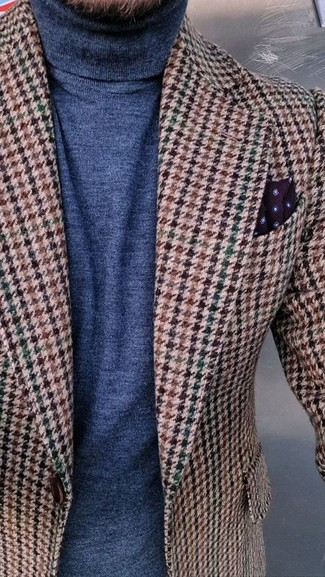 How to wear: burgundy polka dot pocket square, navy turtleneck, brown houndstooth wool blazer