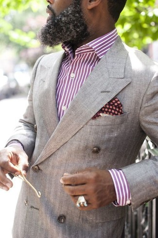 How to wear: burgundy polka dot pocket square, purple vertical striped dress shirt, grey double breasted blazer