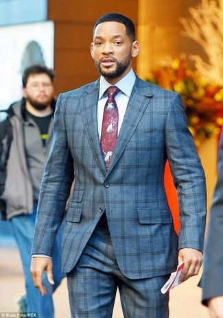 How to wear: burgundy print tie, white dress shirt, grey check suit