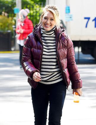 How to wear: burgundy puffer jacket, white and black horizontal striped turtleneck, black skinny jeans