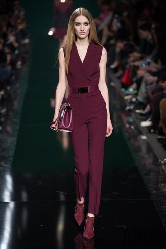 How to wear: burgundy leather belt, burgundy leather satchel bag, burgundy suede pumps, burgundy jumpsuit