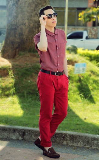 How to wear: burgundy short sleeve shirt, red chinos, brown suede driving shoes, black leather belt