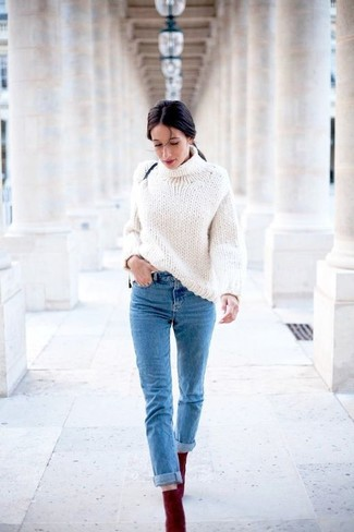 How to wear: burgundy suede ankle boots, blue jeans, white knit turtleneck