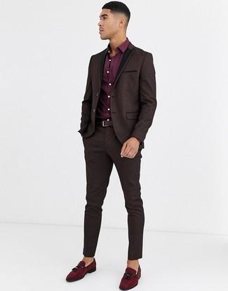 How to wear: dark brown leather belt, burgundy suede tassel loafers, burgundy dress shirt, dark brown brocade suit