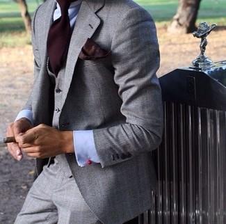 How to wear: burgundy pocket square, burgundy tie, light blue dress shirt, grey three piece suit