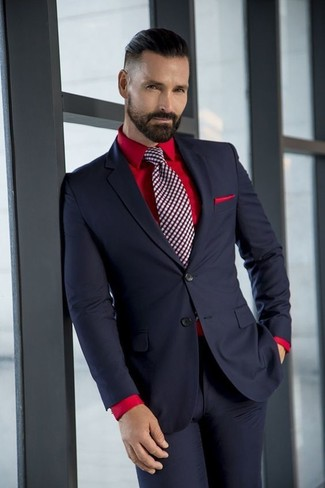 How to wear: red pocket square, burgundy check tie, red dress shirt, black suit