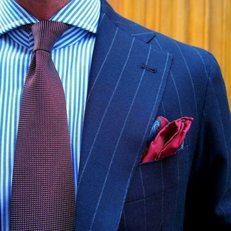 How to wear: red paisley silk pocket square, burgundy polka dot tie, white and blue vertical striped dress shirt, blue vertical striped blazer
