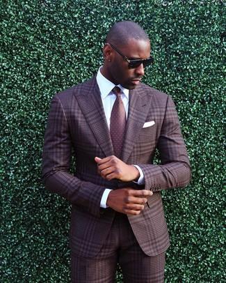 How to wear: white pocket square, burgundy polka dot tie, white dress shirt, brown plaid suit