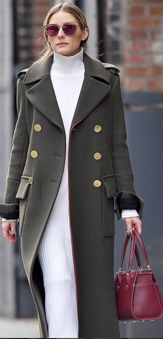 How to wear: burgundy sunglasses, burgundy leather tote bag, white sweater dress, olive coat