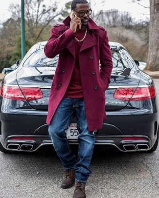 Make a jaw-dropping entry anywhere you go in a trenchcoat and navy jeans. A pair of dark brown leather casual boots will seamlessly integrate within a variety of outfits. When it comes to dressing for transitional weather, nothing beats a cool look that will keep you warm and looking your best.