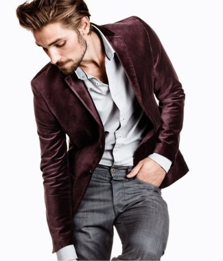 Pair a velvet coat with grey jeans to look classy but not particularly formal.