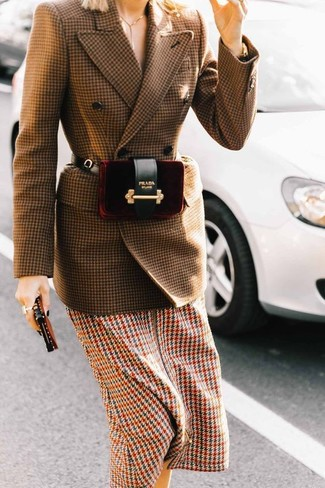 How to wear: burgundy velvet fanny pack, multi colored houndstooth midi dress, brown houndstooth wool double breasted blazer