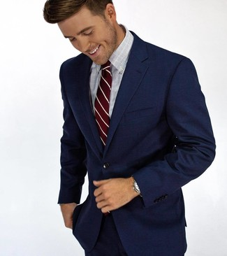 How to wear: burgundy vertical striped tie, light blue check dress shirt, navy suit