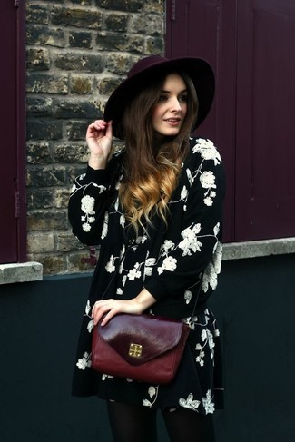 How to wear: burgundy wool hat, burgundy leather crossbody bag, black and white floral swing dress