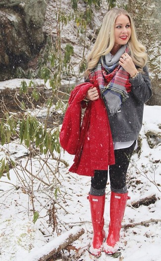 How to wear: black leggings, white button down blouse, charcoal crew-neck sweater, red coat