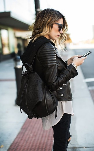 Women's Black Ripped Skinny Jeans, Beige Button Down Blouse, Black Hoodie, Black Quilted Leather Biker Jacket