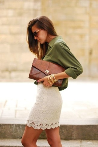 An olive button front blouse and a white lace mini skirt is a nice combination to carry you throughout the day.
