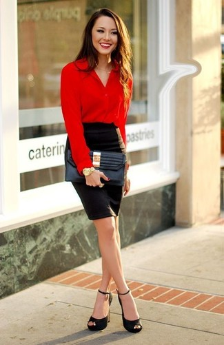Choose a red button down blouse and a bag and you'll be the picture of elegance. Black suede heeled sandals work amazingly well within this getup. This combination isn't a hard one to achieve and it's summer-ready, which is important when it's boiling hot outside.