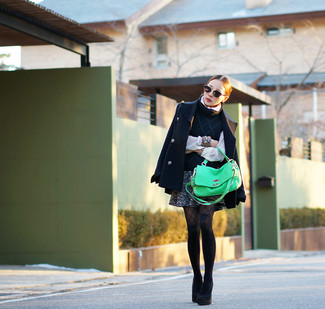 How to wear: charcoal tweed mini skirt, white button down blouse, navy short sleeve sweater, navy pea coat