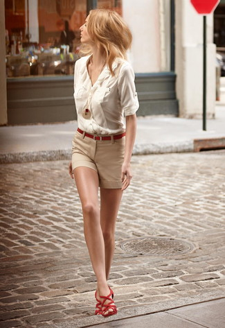 How to wear: beige button down blouse, beige shorts, red suede gladiator sandals, red belt