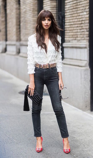 How to wear: white lace button down blouse, black skinny jeans, red embellished satin pumps, black leather clutch