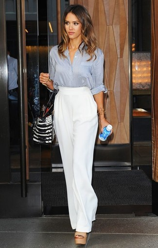 Jessica Alba wearing Grey Button Down Blouse, White Wide Leg Pants, Tan Leather Heeled Sandals, Black and White Leather Tote Bag