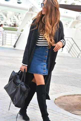 How to wear: black suede over the knee boots, blue denim button skirt, white and black horizontal striped crew-neck sweater, charcoal knit coat