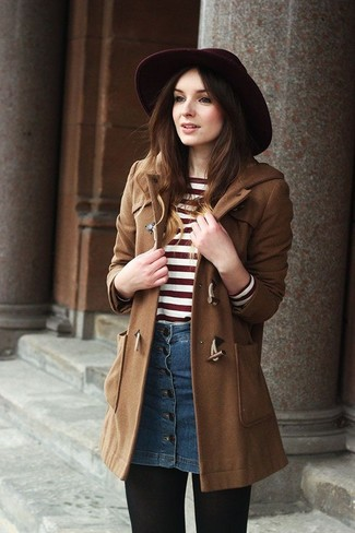How to wear: burgundy wool hat, blue denim button skirt, red and white horizontal striped crew-neck sweater, brown duffle coat