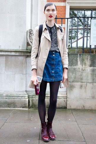 How to wear: burgundy suede ankle boots, blue denim button skirt, black print short sleeve blouse, beige trenchcoat