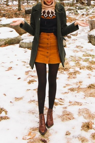 How to wear: brown leather lace-up ankle boots, orange corduroy button skirt, black print wool turtleneck, olive coat