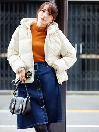 How to wear: black leather crossbody bag, navy denim button skirt, orange knit turtleneck, white puffer jacket