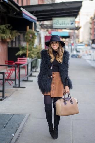 How to wear: black suede over the knee boots, brown corduroy button skirt, black turtleneck, black fur vest