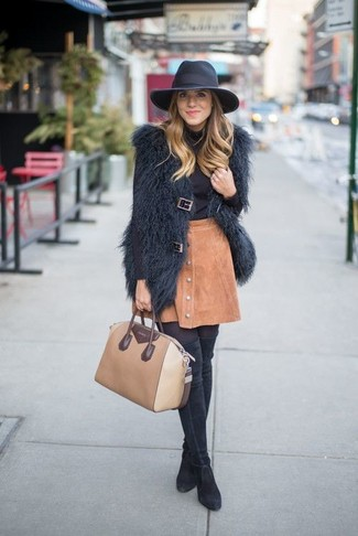How to wear: black suede over the knee boots, tan suede button skirt, black turtleneck, black fur vest