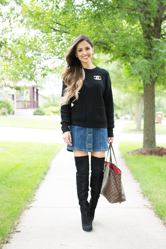 How to wear: black cable sweater, blue denim button skirt, black suede over the knee boots, brown check leather tote bag