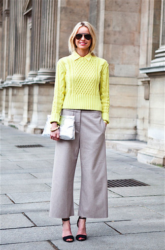 How to wear: green-yellow cable sweater, grey culottes, black suede heeled sandals, silver leather clutch