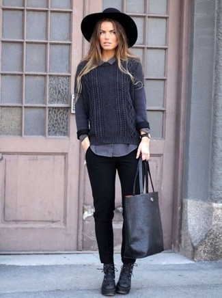 Rock a dark grey cable jumper with a black leather watch for a casual get-up. Black leather lace-up boots are a smart choice to complement the look. There's no nicer way to spice up a bleak autumn day than a cute getup like this one. (Ok, maybe there are a couple.)