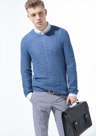 How to wear: blue cable sweater, white dress shirt, grey check dress pants, black leather briefcase