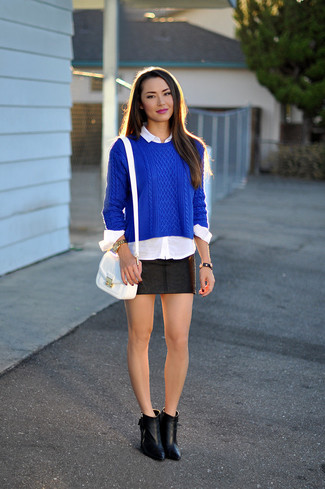 How to wear: blue cable sweater, white dress shirt, black leather mini skirt, black leather ankle boots