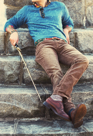 How to wear: blue cable sweater, multi colored long sleeve shirt, brown corduroy jeans, brown leather brogues