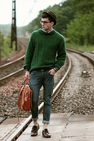 How to wear: green cable sweater, light blue long sleeve shirt, charcoal skinny jeans, dark brown leather derby shoes