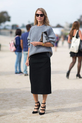 Reach for a grey cable knit sweater and a black midi skirt for a comfortable outfit that's also put together nicely. Black suede pumps will add a touch of polish to an otherwise low-key look. There's no better way to spice up a dull fall afternoon than a killer getup like this one. (Ok, maybe there are a couple.)