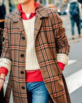 How to wear: white crew-neck t-shirt, beige cable sweater, red polo neck sweater, brown plaid overcoat